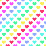 Bright 80s style rainbow hearts background. For your decoration royalty free illustration