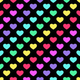 Bright 80s style rainbow hearts background Royalty Free Stock Photo