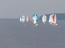 Bright sailboats sailing Royalty Free Stock Photography