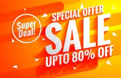 Bright sale background poster in orange color. Vector Royalty Free Stock Photo
