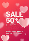 Bright sales flyer with hearts for Valentine's Day. Stock Photos