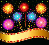 Bright salute firework on black background. Illustration  bright salute firework on black background Royalty Free Stock Images