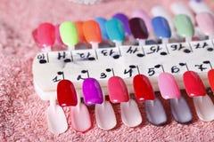 Bright samples of nail polish Stock Photo