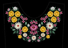 Bright satin stitch embroidery design with flowers. Folk line floral trendy pattern for dress neckline. Ethnic colorful Stock Photo