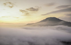 Free Bright Saturated Color Dawn Above The Sea Of Fog Over The Mounta Royalty Free Stock Photos - 61229958