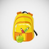 Bright school backpack with pencils and an apple Stock Images