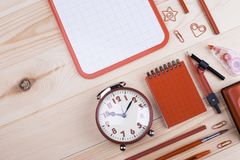 Bright school chancery on wooden table. Office stationery for study. Preparation for school stock photo