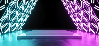 Bright Sci Fi Modern Futuristic Retro Triangle Shaped Stage Cons. Truction With Neon Glowing Cross Shaped Purple Blue Lights On Concrete Reflection Floor With stock illustration