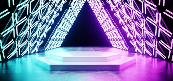 Bright Sci Fi Modern Futuristic Retro Triangle Shaped Stage Cons. Truction With Neon Glowing Cross Shaped Purple Blue Lights On Concrete Reflection Floor With royalty free illustration