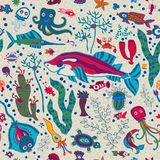 Bright Sea life in cartoon seamless pattern Royalty Free Stock Image