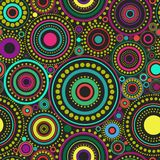 Bright seamless abstract pattern of colorful circles and dots on black background. Kaleidoscope backdrop. Decorative wallpaper, good for printing. Vector Vector Illustration