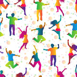 Bright seamless background with jumping people Royalty Free Stock Image