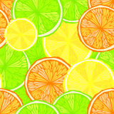 Bright seamless background with oranges, lemons and limes Royalty Free Stock Images