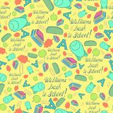 Bright Seamless Background with School Stuff Royalty Free Stock Images