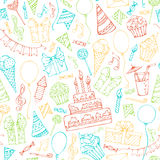Bright seamless birthday pattern. Colourful doodles gift boxes, garlands and balloons, music notes, party blowouts, cakes and candies, birthday pie, party hats Royalty Free Stock Photo