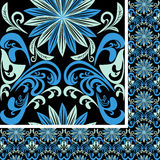 Bright seamless blue Pattern on a black background Royalty Free Stock Image