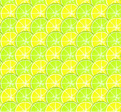 Bright seamless citrus pattern with lemon and lime circles Royalty Free Stock Images