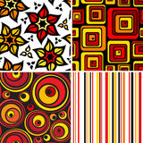 Bright seamless collection. Set of stylish seamless geometric and floral backgrounds Royalty Free Stock Photo