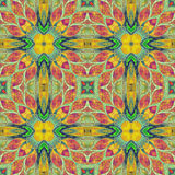 Bright seamless colorful ethic indian pattern. Collage with hand made watercolor blots, petals, leaves flowers. Batik style  Royalty Free Stock Photo