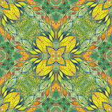 Bright seamless colorful ethic indian pattern. Collage with hand made watercolor blots, petals, leaves flowers. Batik style  Stock Photo