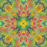 Bright seamless colorful ethic indian pattern. Collage with hand made watercolor blots, petals, leaves flowers. Batik style  Royalty Free Stock Image