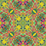 Bright seamless colorful ethic indian pattern. Collage with hand made watercolor blots, petals, leaves flowers. Batik style  Stock Photos