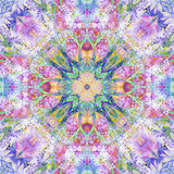 Bright seamless colorful ethnic indian pattern. Collage with hand made watercolor blots, petals, leaves, flowers. Batik style back Stock Photos