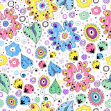 Bright seamless floral pattern painted markers Stock Photography