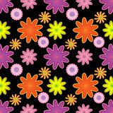 Bright seamless floral pattern in pink, orange and purple over black background royalty free illustration