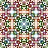 Bright seamless grunge colorful ethnic indian pattern. Collage with hand made watercolor blots, petals, leaves and flowers. Batik Royalty Free Stock Images