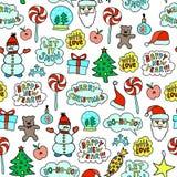 Seamless Cartoon Christmas Pattern On The White Background. Bright Seamless Hand-drawn Cartoon Christmas Pattern On The White Background Stock Photos