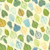 Bright seamless nature pattern. Set of various ornate leaves and flowers. Can be used for wrapping paper Royalty Free Stock Images