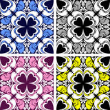 Bright seamless ornamental Pattern in four variants. Stock Photography