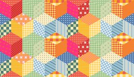 Bright seamless patchwork pattern. Childish quilt design. Stock Images