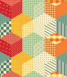 Bright seamless patchwork pattern from colorful cubes. Royalty Free Stock Photos