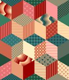 Bright seamless patchwork pattern. Decorative rhombus ornament. Stock Images