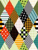 Bright seamless patchwork pattern from rhombus elements. Royalty Free Stock Image