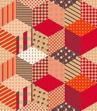 Bright seamless patchwork pattern in warm autumn colors. Vector illustration Vector Illustration