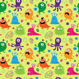 Bright seamless pattern with aliens Stock Image