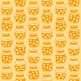 Bright seamless pattern with the apricot jam jars. Stock Image