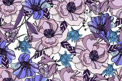 Bright seamless pattern with beautiful ranunculus and meadow flo. Wers. Trendy ultraviolet colors. Floral background for home textiles, interiors, linens, cotton Stock Photography
