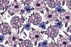 Bright seamless pattern with beautiful ranunculus and meadow flo. Wers. Trendy ultraviolet colors. Floral background for home textiles, interiors, linens, cotton Royalty Free Stock Photo