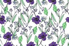 Bright seamless pattern with beautiful ranunculus and meadow flo. Wers. Trendy ultraviolet colors. Floral background for home textiles, interiors, linens, cotton Stock Photos