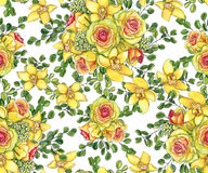 Bright seamless pattern with bouquets of yellow orchids, waxflow. Ers, green eucalyptus and roses painted with watercolor on white background Stock Images