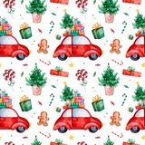 Bright seamless pattern with Christmas tree,candy,red retro car,gift and more. Watercolor holiday texture.Perfect for your Christmas and New Year project royalty free illustration