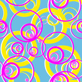 Bright seamless pattern with circles on blue Stock Photos