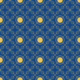 Bright seamless pattern of circles and petals. Blue and gold. Vector illustration Royalty Free Stock Image