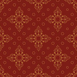 Bright seamless pattern of circles and petals. Red and gold. Royalty Free Stock Photo