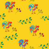 Bright seamless pattern with cocks Royalty Free Stock Photo