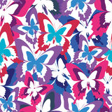 Bright seamless pattern with colorful butterflies Stock Photo